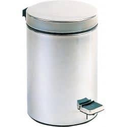 Poubelle ronde à pédale en métal satiné - 05 litres