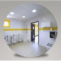 Miroir incassable pour sanitaires en plexichok diamètre 490 mm