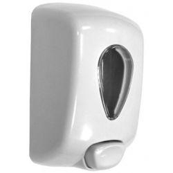 Distributeur de savon liquide et gel hydro-alcoolique manuel - ABS blanc
