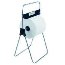 Distributeur de papier essuie-mains en bobine avec support sur pied - Acier chomé brillant